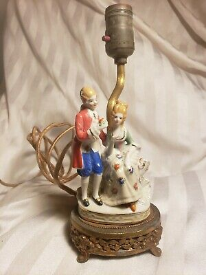 $ CDN42.35 • Buy Beautiful, Antique Porcelain Footed Figurine Lamp, Marking Mm