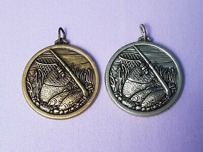 £8.99 • Buy Cebrian Fishing Medal High Relief High Detail Gold Silver Choice 38mm Vintage