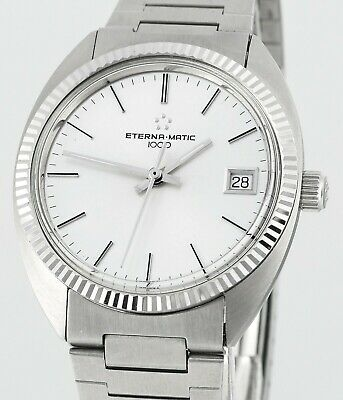 Vintage ETERNA MATIC 1000 1980's  Mens New Old Stock Wrist Watch • 275.35£