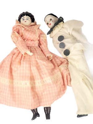 $ CDN1.20 • Buy 2pcs Lot Vintage Porcelain Dolls Large Mime Musical Pierrot Doll 22  NO RESERVE