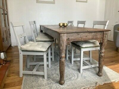 £5 • Buy Set Of Six Ikea Gamleby Dining Chairs In Grey With Shabby Chic Painted Seats