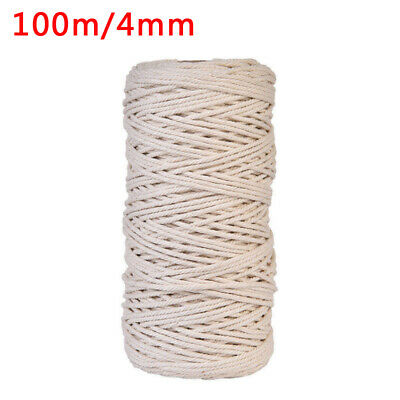 AU16.99 • Buy Length 100M Width 4MM Macrame Rope Natural Cotton Twisted Cord Artisan Handcraft