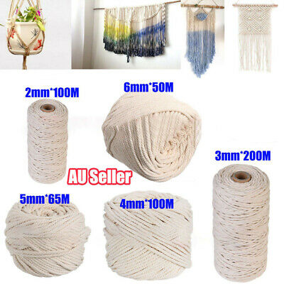 AU16.99 • Buy 2/3/4/5/6mm Macrame Rope Natural Beige Cotton Twisted Cord Artisan Hand Craft AU