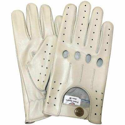 £19.99 • Buy Slim Fit Retro Style Mens Leather Driving Gloves Unlined Chauffeur 507 Off White