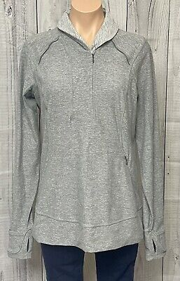 $ CDN63.08 • Buy Lululemon Think Fast 1/2 Zip Long Sleeve Pullover Heather Slate Gray Logo 12 WOW