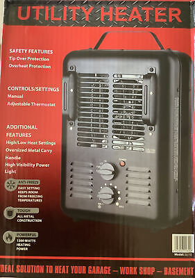 $22.95 • Buy New Utility DQ1702 Milkhouse Style Electric Fan-Forced Space Heater - Black