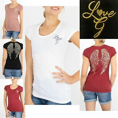 £19.95 • Buy Womens Guess T-shirt G Love Angel Wings Sequin Embroidered Short Sleeve Top