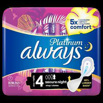 £10.99 • Buy Always Platinum Secure Night (Size 4) Sanitary Towels Wings 7 Pads X 2