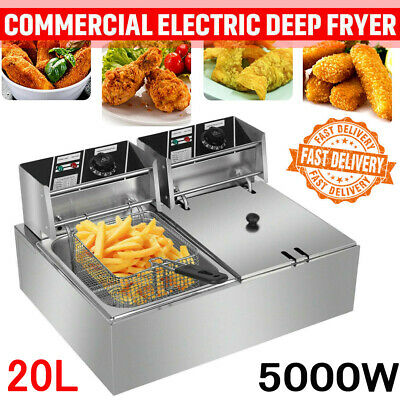 £95.98 • Buy Large 5000W Electric Deep Fat Fryer 20L Double Tank Fast Chip Frying Commercial