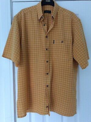 £2.95 • Buy Mens Yellow &white Short Sleeved  Check Canali Shirt Size 16 Neck