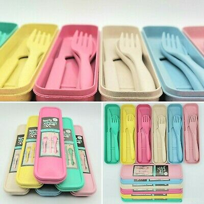 £3.99 • Buy Pink Blue Beige Strong Reusable Travel BBQ Picnic Cutlery Set - Fork Knife Spoon