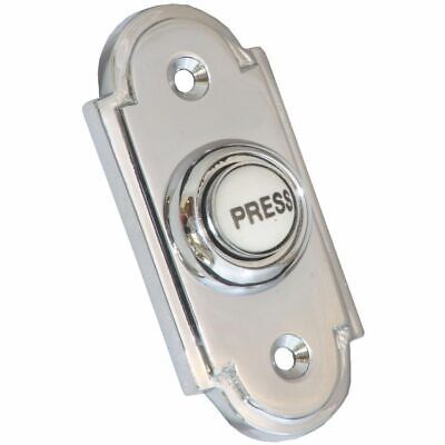 £8.39 • Buy Polished Chrome Victorian Shaped Bell Push C/w China  PRESS  Button 76x33mm.