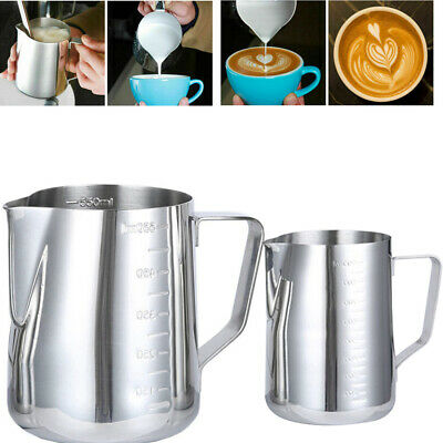 £6.59 • Buy Stainless Steel Milk Frothing Jug Measure Frother Coffee Latte Container Pitcher