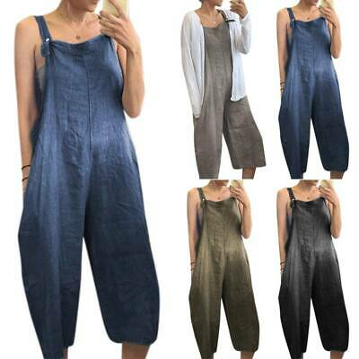 £13.10 • Buy Ladies Baggy Dungarees Jumpsuit Harem Overalls Strappy Oversized Casual Trousers