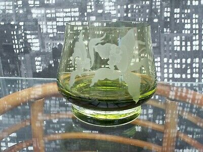 £5 • Buy Caithness Green Orchid Etched Blown Glass Vase