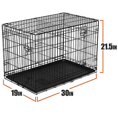 £22.33 • Buy Dog Crate Kennel Folding Pet Cage Metal Double Door Tray Pan W/ Divider NEW