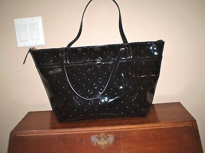 $ CDN50 • Buy Authentic Kate Spade New York 100% Black Patent Leather Large Zip Top Tote