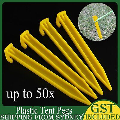 AU15.99 • Buy UP 50X Plastic Tent Awning Pegs Nails Sand Ground Stakes Outdoor Camping Hiking