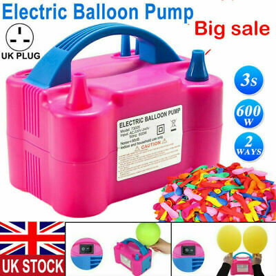 £18.99 • Buy NEW Portable 600W Electric Air Balloon Pump Dual Nozzle Automatic Inflator UK