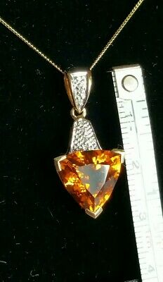 £129.95 • Buy Authentic Natural Madeira Citrine & Diamond Pendant On 18 Chain. 9ct Yellow Gold