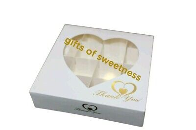 £8.50 • Buy * L@@k* 5 X Small Empty White With Gold Thank You Box/ Acetate Window + Inserts