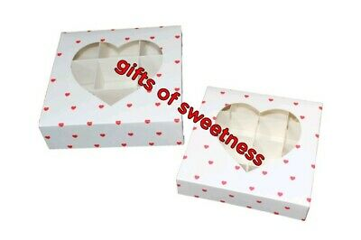 £8.50 • Buy * L@@k* 5 X Small Empty White With Red Heart Box/ Acetate Window + Inserts