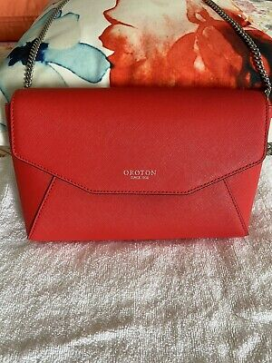 AU80.50 • Buy Red Oroton Crossbody Bag With Silver Hardware