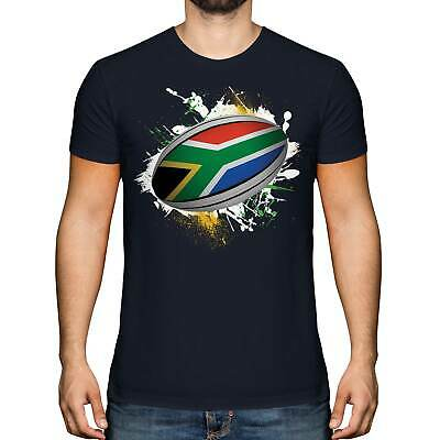 £9.95 • Buy South Africa Rugby Ball Splatter Mens T-shirt Tee Top Gift World Cup Sport
