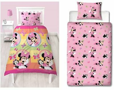 £13.50 • Buy Minnie Mouse Butterfly Disney Bedding 2 In 1 Single Duvet Cover Set Girls Pink