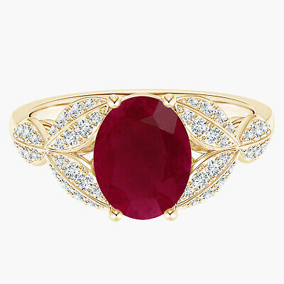 AU407.73 • Buy 9K Yellow Gold Oval Ruby Gemstone Petal Flower Solitaire Ring
