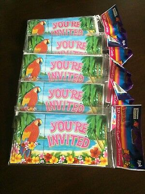 £2.26 • Buy Luau Beach Or Pool Party 3D Invitation Cards With Envelopes 5 Sets Of 8 Each NIP