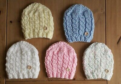 £3.95 • Buy Hand Knitted New Born Baby Cable Hat White, Pink, Blue, Lemon Or Confetti