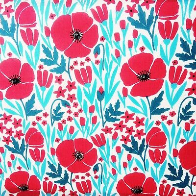 £3.99 • Buy Polycotton Fabric 45  Wide Red Poppy Floral Flower Per Metre Low Price