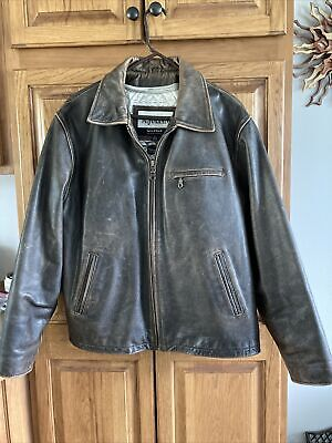 $99 • Buy M. JULIAN BROWN LEATHER JACKET By WILSONS LEATHER, SIZE L, ZIP Distressed