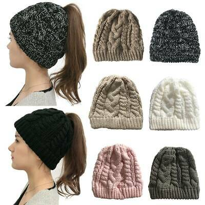£7.29 • Buy Womens Messy Ponytail Beanie Skull Cap High Bun Stretch Warm Cable Knitted Hat