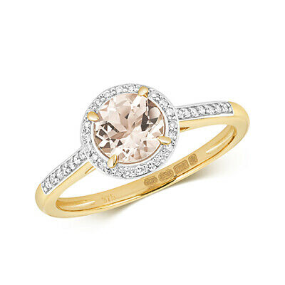 AU599.93 • Buy 9ct Yellow Gold Diamond And Round Cut Morganite Cocktail Ring