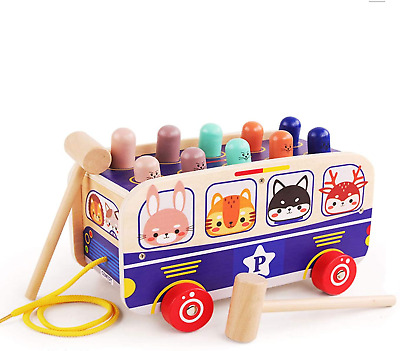 £12.17 • Buy Wondertoys Wooden Hammer Toys 3 In 1 Pull Along Animal Bus Pound And Tap Bench