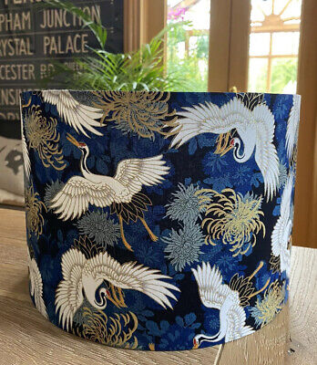 £25 • Buy New Made To Order Lampshade Japanese Oriental Birds Cranes Navy Blue Gold Fabric