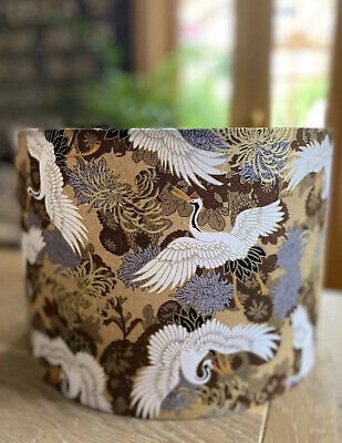 £25 • Buy New Made To Order Lampshade Japanese Oriental Cranes Bird Brown Taupe Mocha Gold