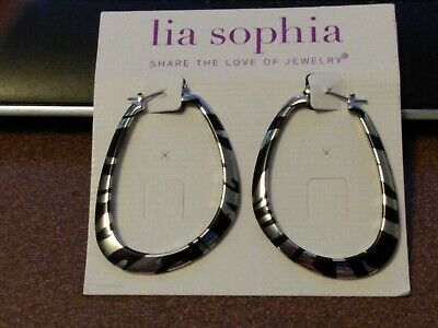 $ CDN6.04 • Buy Lia Sophia Silver And Black Striped Oval Shaped Hoop Earrings