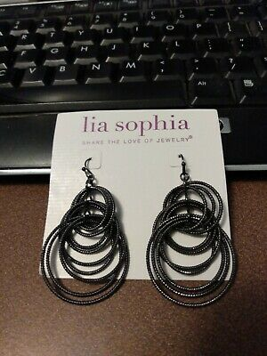 $ CDN6.65 • Buy Lia Sophia Large Shiny Gunmetal Colored Circles Dangle Earrings, No Card