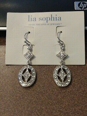 $ CDN7.25 • Buy Lia Sophia Silver Oval Dangle Earrings With Clear Crystals, Beautiful