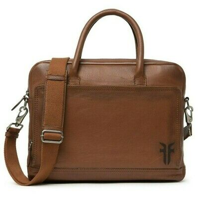£158.29 • Buy Frye Etched Leather Attache Briefcase Laptop Tote Work Bag In Tan