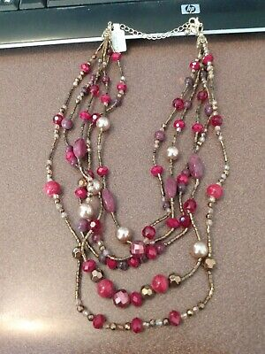 $ CDN9.67 • Buy Lia Sophia Gold Multistrand Necklace With Red, Purple And Brown Glass Beads