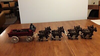$ CDN113.30 • Buy Vintage Cast Iron Budweiser Beer Wagon 8 Clydesdale Horses Cast Iron Toy
