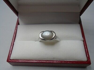 £149 • Buy Stunning 9ct White Gold Designer Ring Set With Oval Cut Cabochon Moonstone