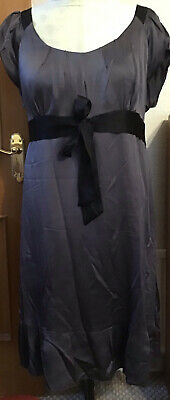 £5 • Buy Lovely Monsoon Silk Dress Size 22, Pewter Colour, Calf Length,Cap Sleeves, Lined