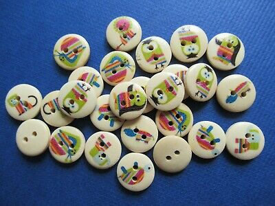 £2.99 • Buy Pk 25 Natural Wooden 2 Hole Buttons 15mm Colourful Animals Snail Cat Owl Lion ++