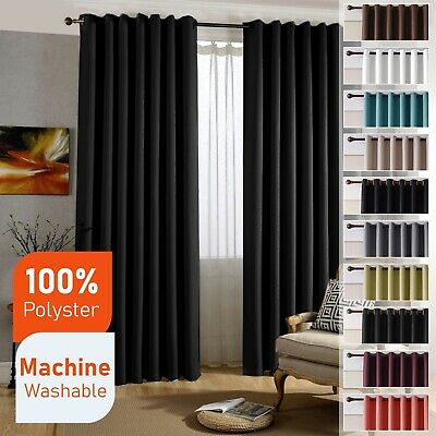 £12.99 • Buy Blackout Curtains Thermal Ring Top Black Out Ready Made Eyelet Curtain Pair