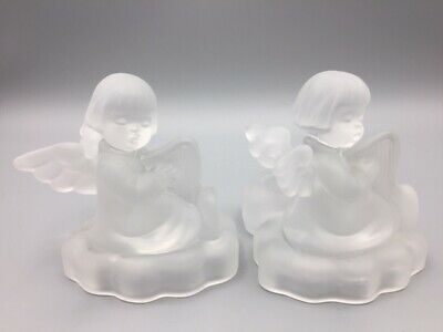 $24.75 • Buy 2 Goebel M.J. Hummel 1995 Angel Playing Harp Frosted Glass Candle Holders